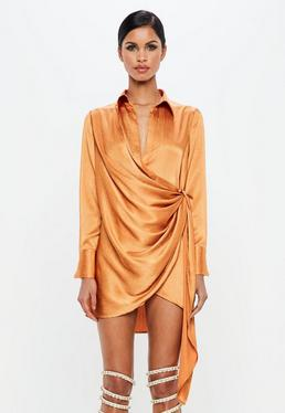 ... Peace + Love Orange Textured Satin Wrap Dress 40eb99202