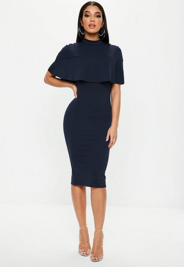 Navy Frill Overlay High Neck Midi Dress by Missguided
