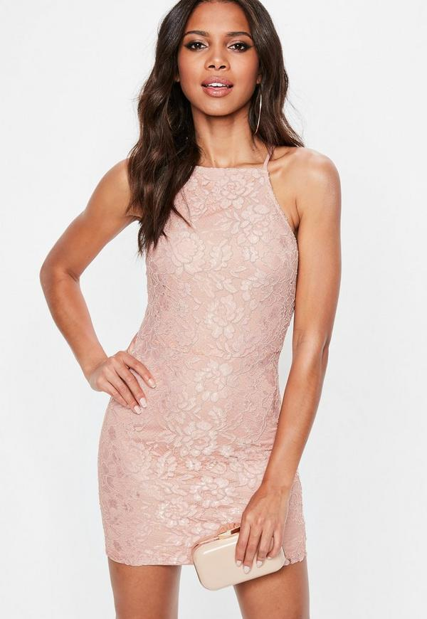 Pink Lace Square Neck Bodycon Dress by Missguided