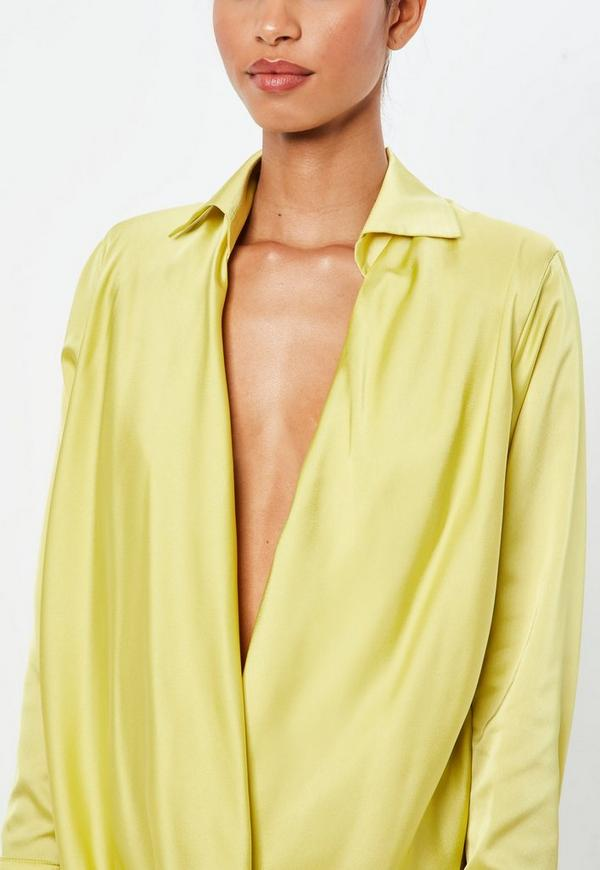 Peace + Love Chartreuse Yellow Satin Cowl Mini Dress | Missguided