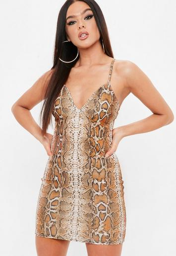 Madison Beer X Missguided Brown Strappy Bodycon Snake