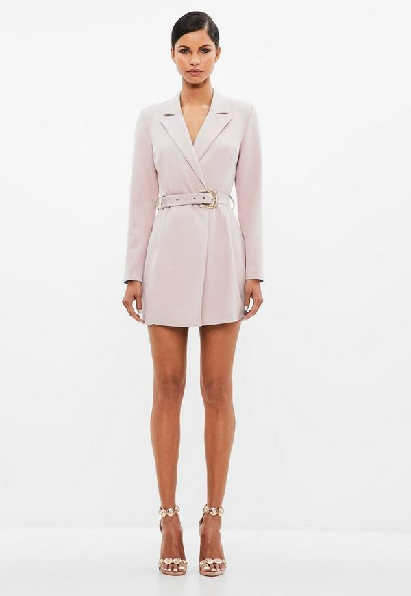 Peace + Love Nude Belted Blazer Dress by Missguided