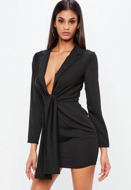 Vestido anudado de satén en negro