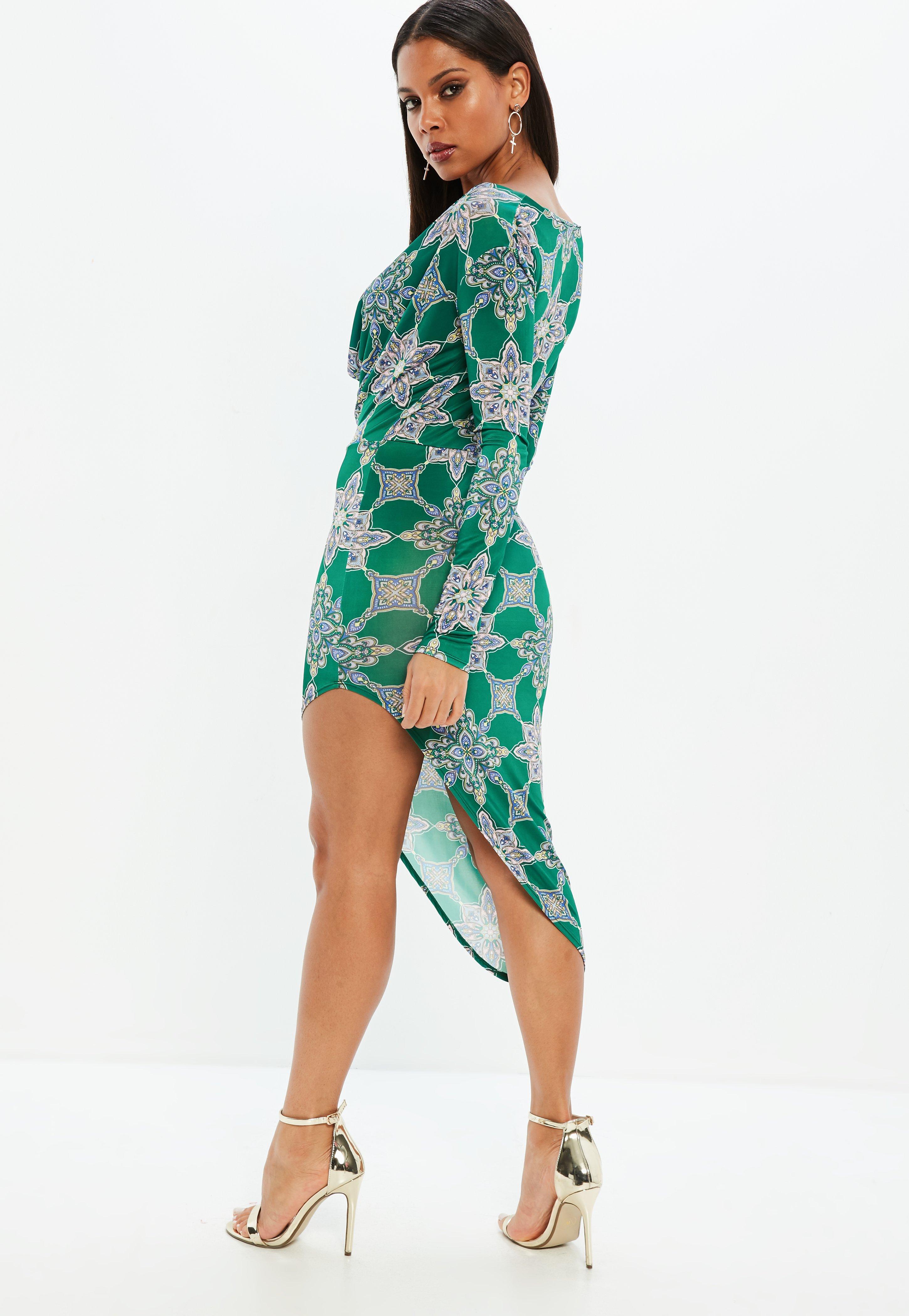 Missguided Tile Print Cowl Slinky Dress 2018 Cheap Online MrUScoG9