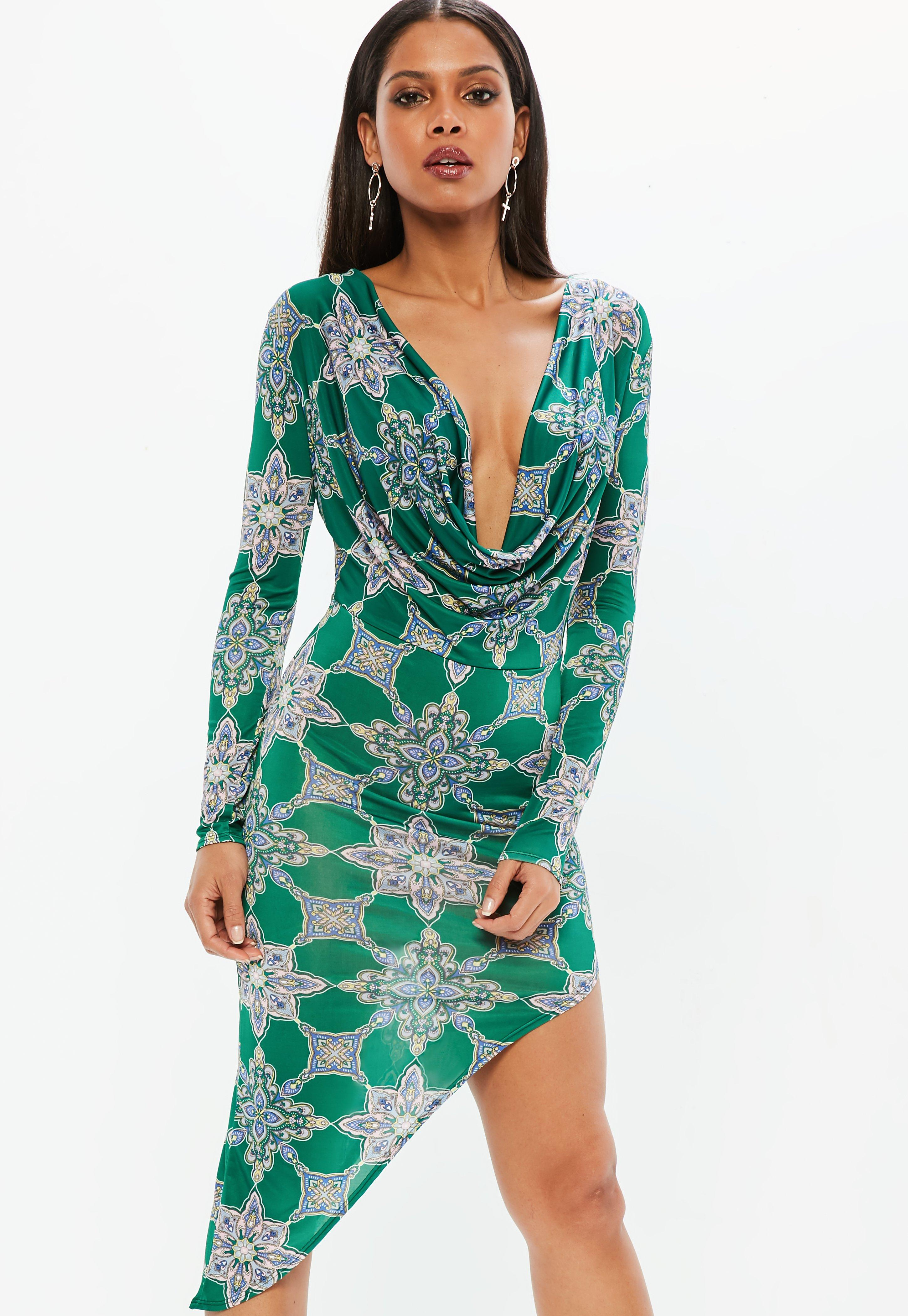 Missguided Tile Print Cowl Slinky Dress Buy Cheap Pre Order Under Sale Online Sale 100% Authentic Free Shipping For Cheap Big Discount Cheap Online Evpst7ecI