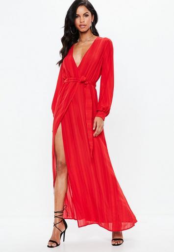 Red Striped Long Sleeve Tie Waist Split Maxi Dress