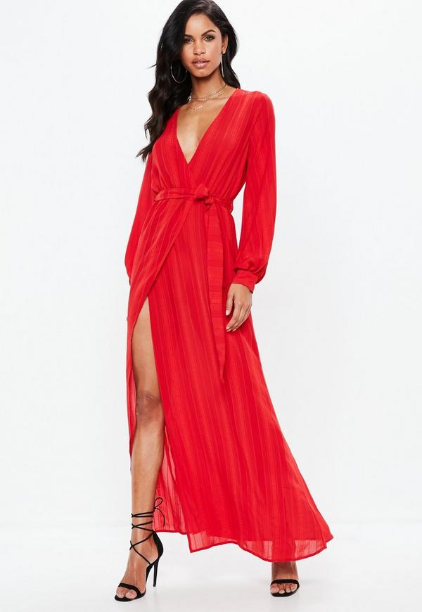 Red Striped Long Sleeve Tie Waist Split Maxi Dress by Missguided