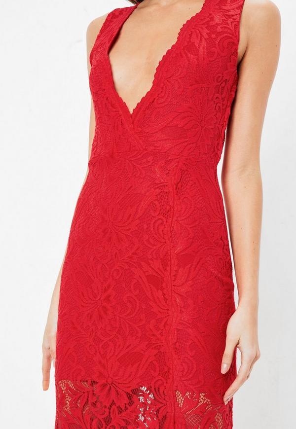 56f1851ea9 Red Plunge Scallop Trim Lace Maxi Dress. Previous Next