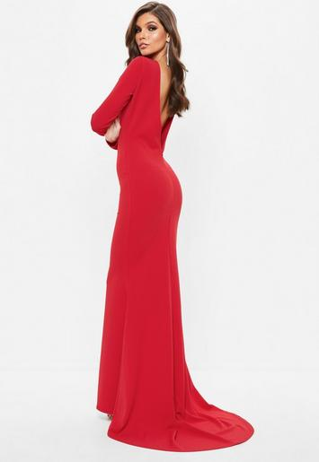 Red Long Sleeve Open Back Fishtail Maxi Dress | Missguided ...