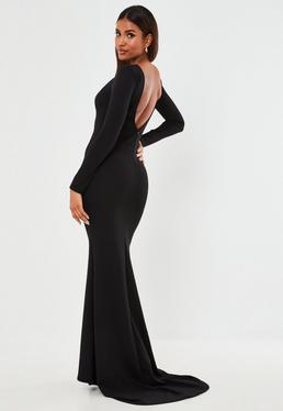 73d4ad49968 Black Open Back Maxi Dress