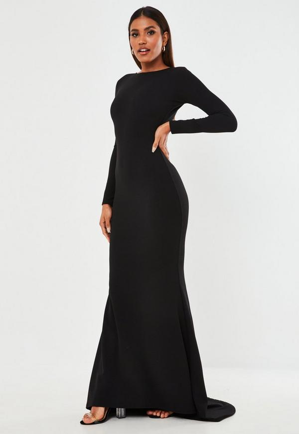 Black Open Back Maxi Dress Missguided