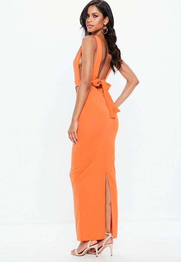 Orange Sleeveless Cut Out Tie Back Maxi Dress