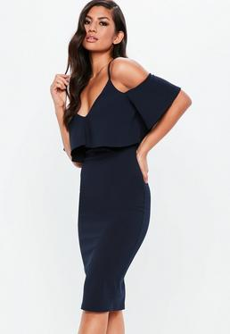 Bodycon fishtail midi dress shoulder navy one revolve from amazon