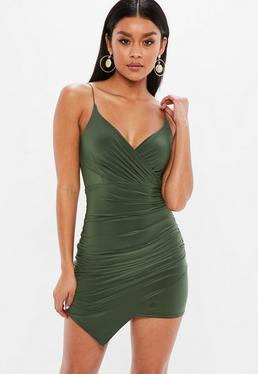 ... Khaki Strappy Slinky Wrap Bodycon Dress 503bd4d4ab98