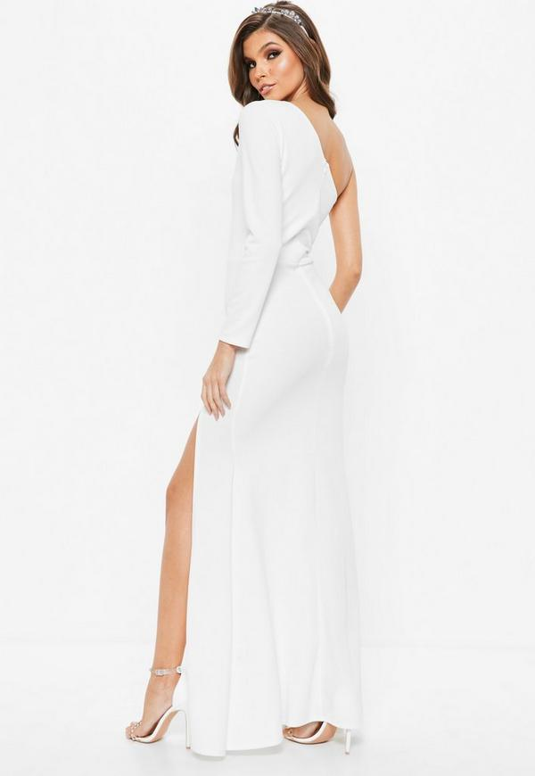 White One Shoulder Long Sleeve Split Maxi Dress | Missguided