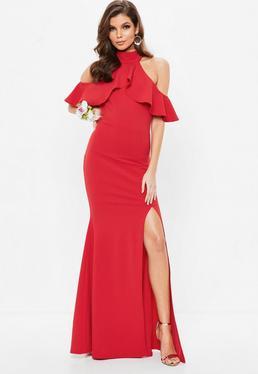Robe longue rouge à froufrous