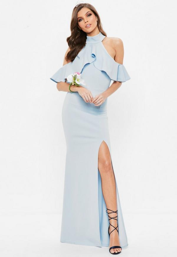 Blue Frill Halterneck Maxi Dress by Missguided