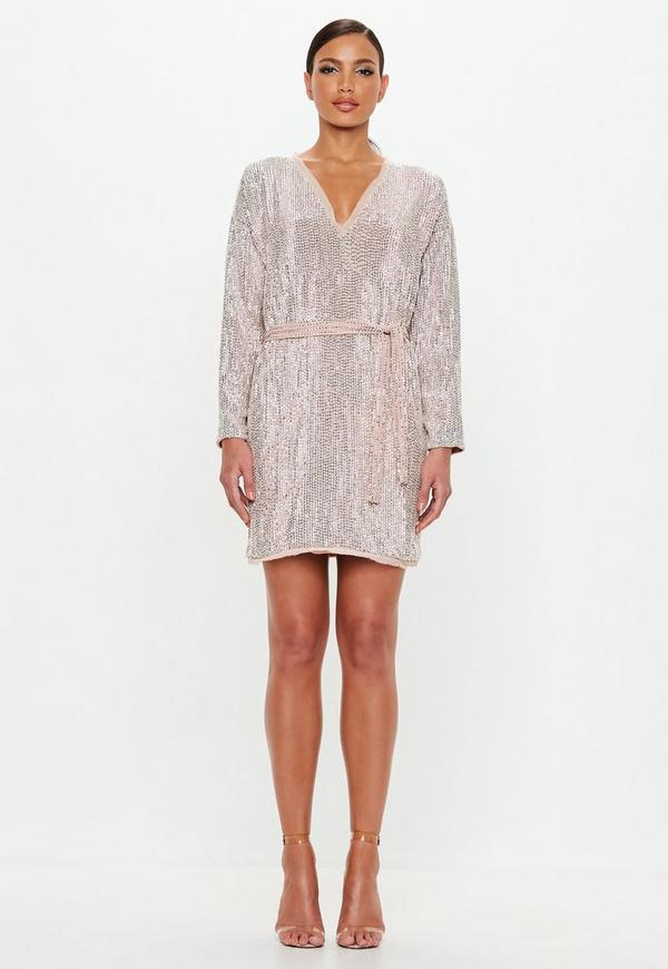 7777e58f2fcb Peace + Love Nude Embellished Belted Mini Dress. Previous Next