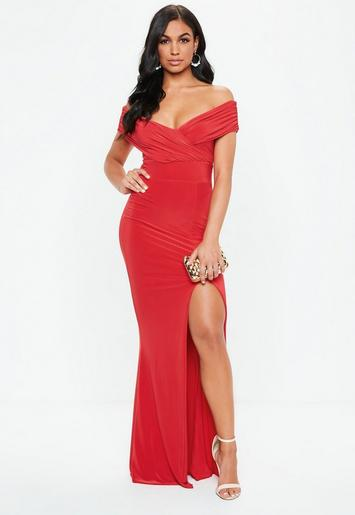 Red Bardot Wrap Slit Slinky Maxi Dress Missguided
