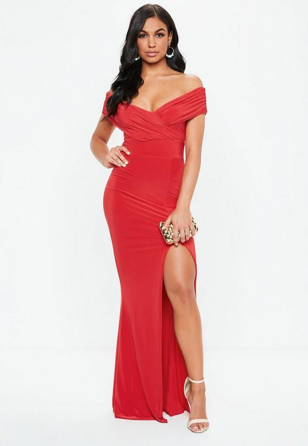 bb4378cb921 Red Bardot Wrap Slit Slinky Maxi Dress