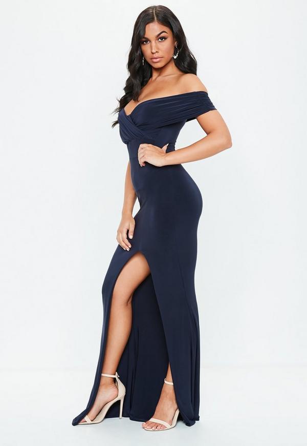 Navy Bardot Wrap Slit Slinky Maxi Dress Missguided