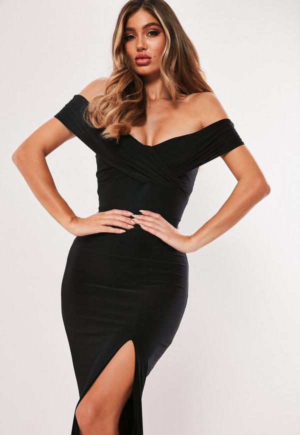Black Bardot Wrap Slit Slinky Maxi Dress Missguided
