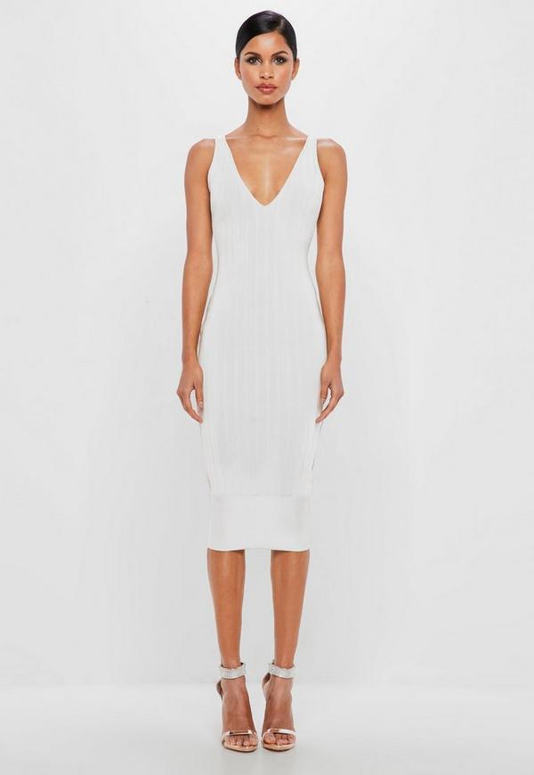 3ae09c0f86d peace + love white bandage scoop back midi dress