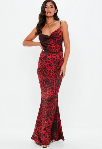 1b23626a6be50 Red Leopard Print Maxi Dress