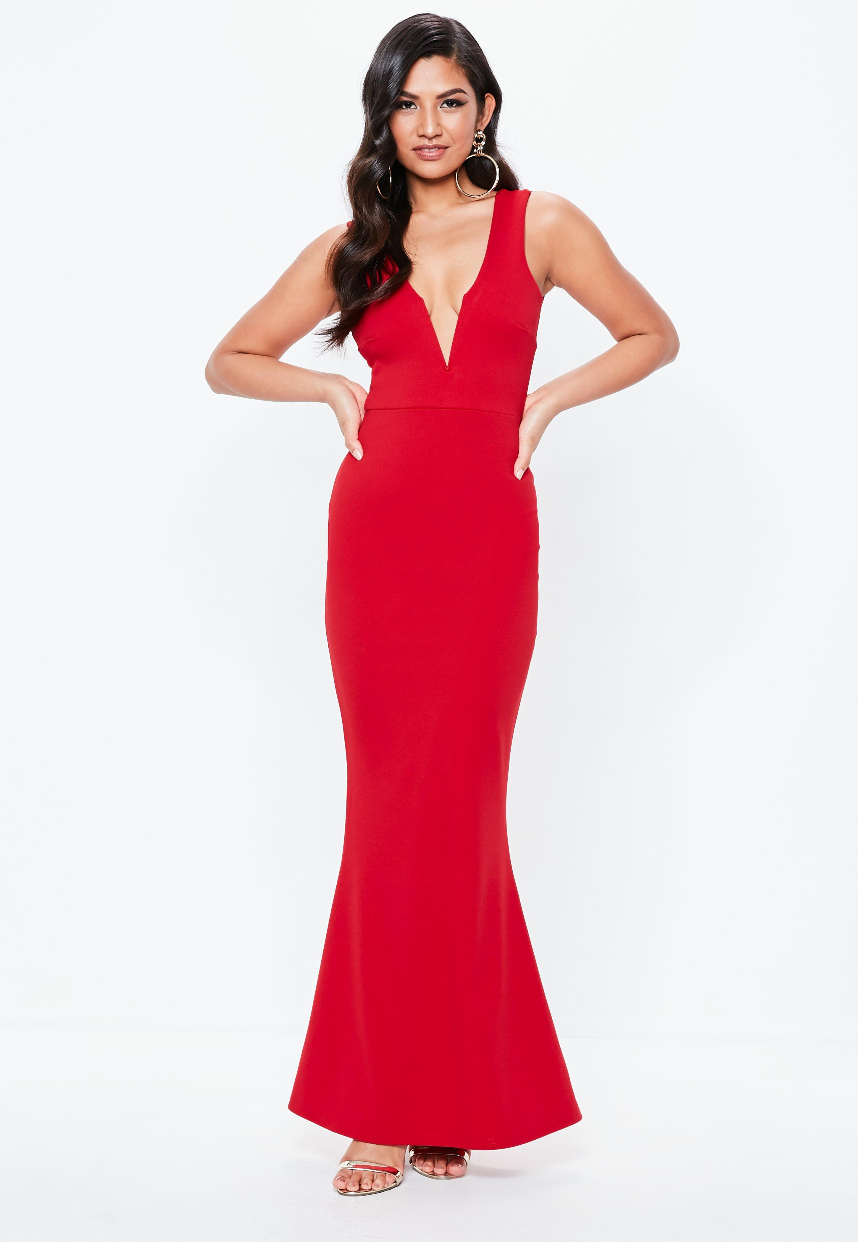 Red Plunge Maxi Dress  0dfbb4eac