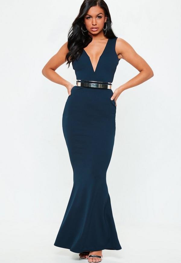 Azul vestidos largos