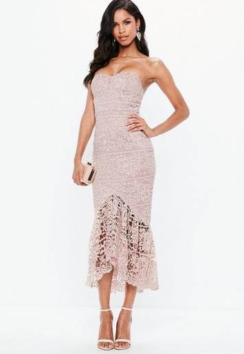 Pink Lace Fishtail Maxi Dress Missguided