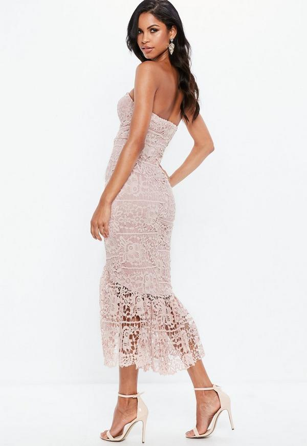 744016b590fe Pink Lace Fishtail Maxi Dress. Previous Next