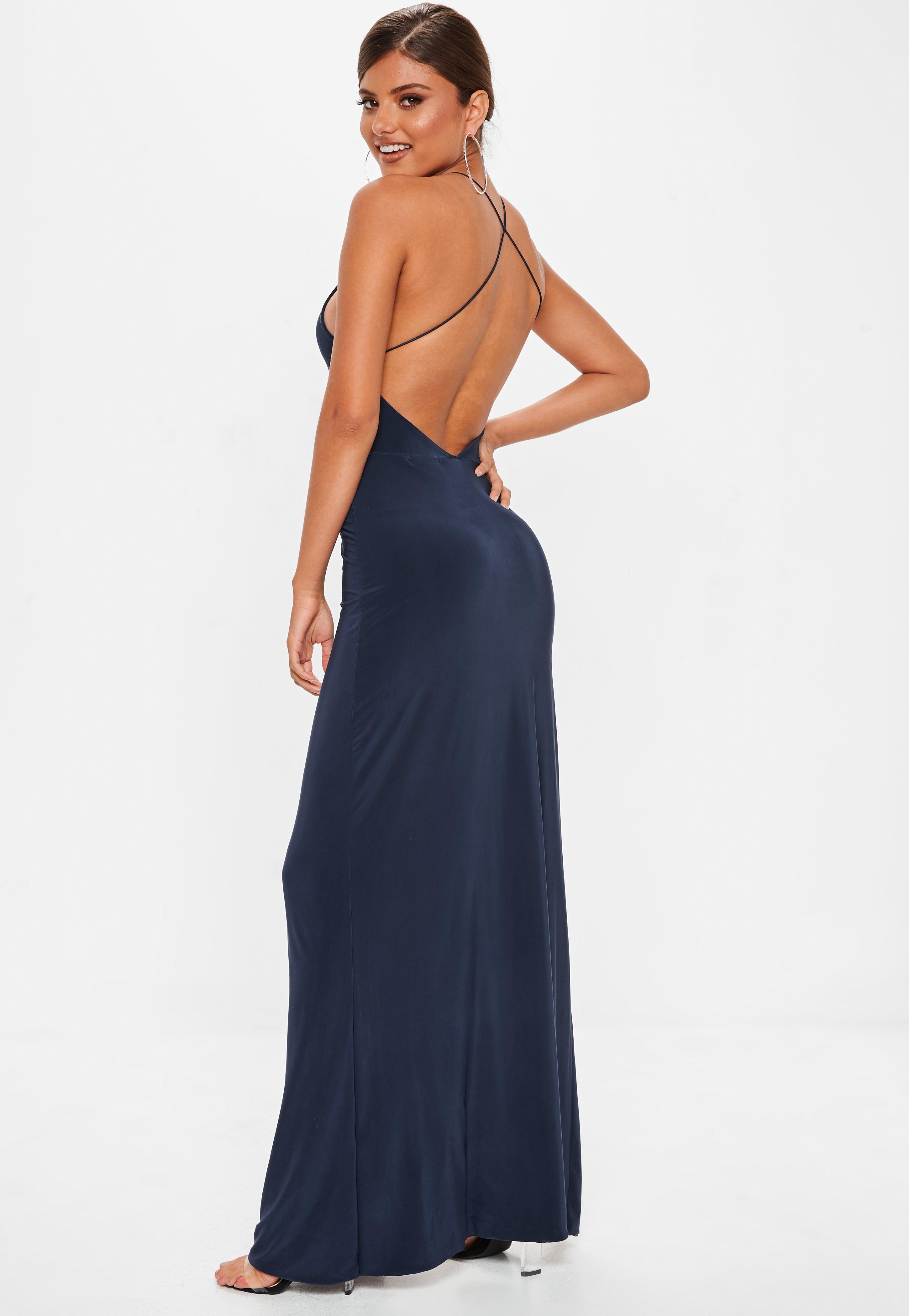 Navy Slinky Side Split Maxi Dress Missguided
