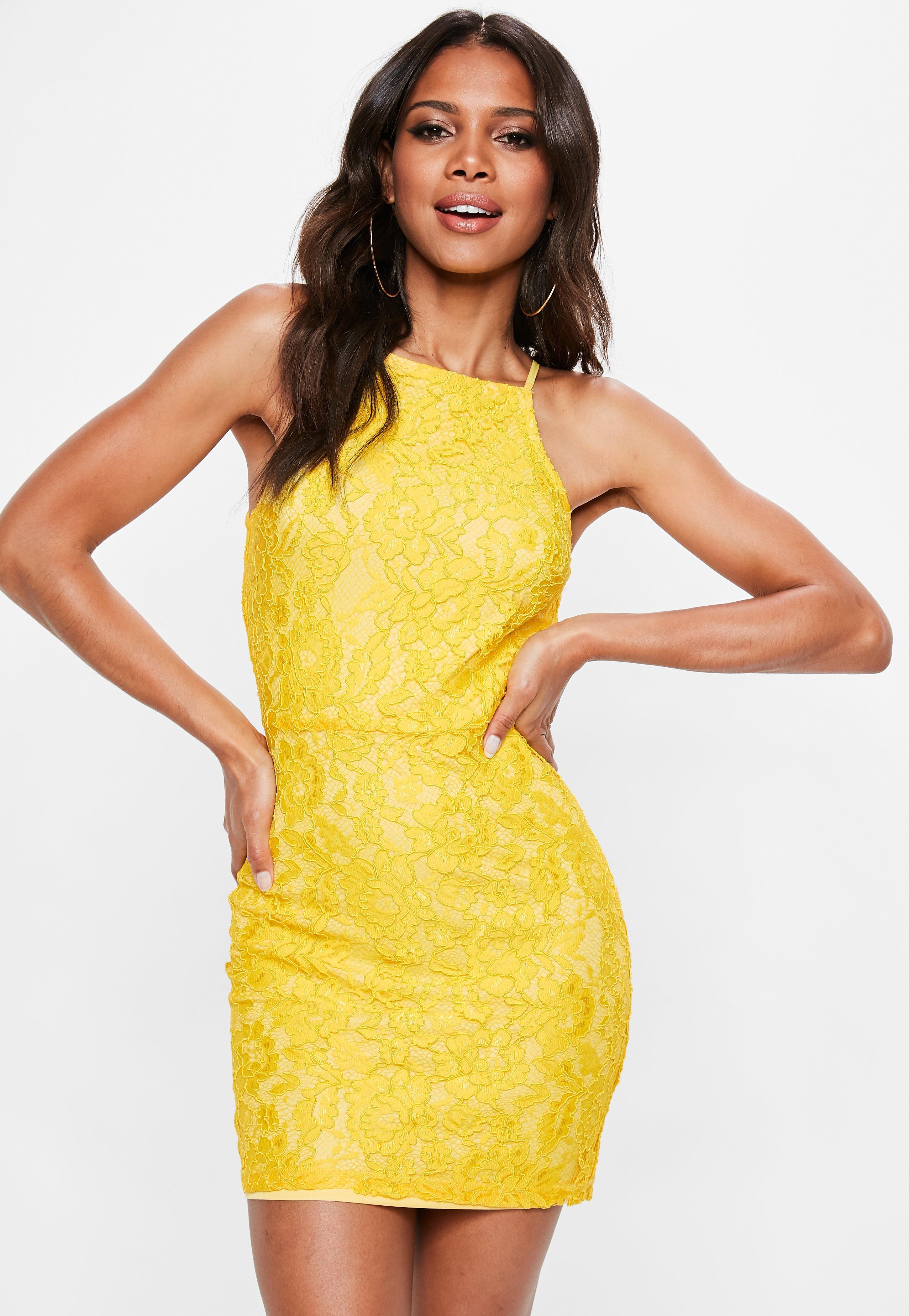 Yellow Lace Square Neck Bodycon Dress