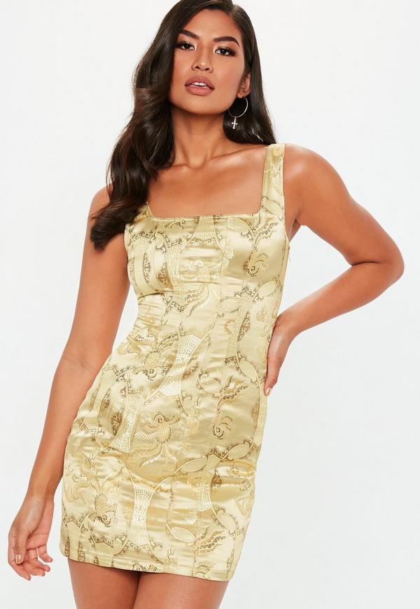 2efde7719ac20 Gold Satin Jacquard Dress