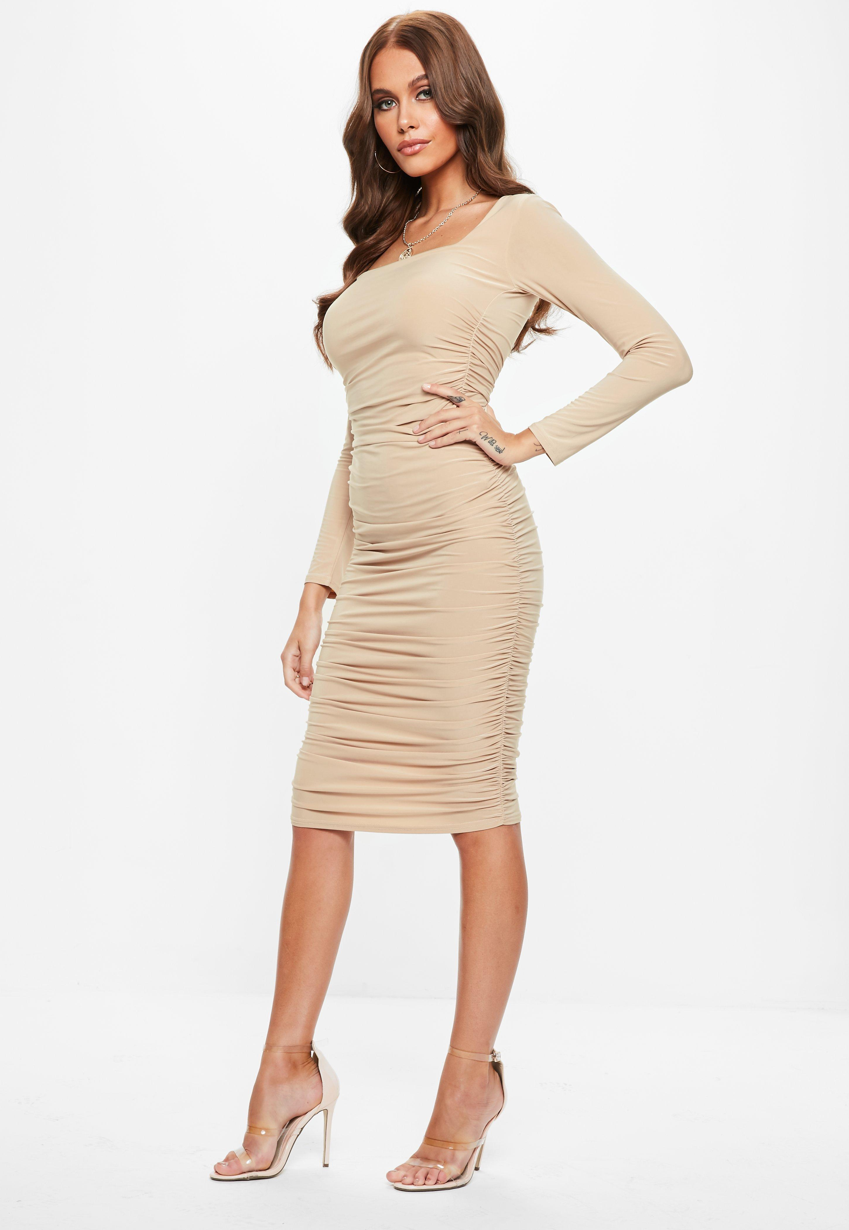Sand Soft Touch Slinky Ruched Midi Dress