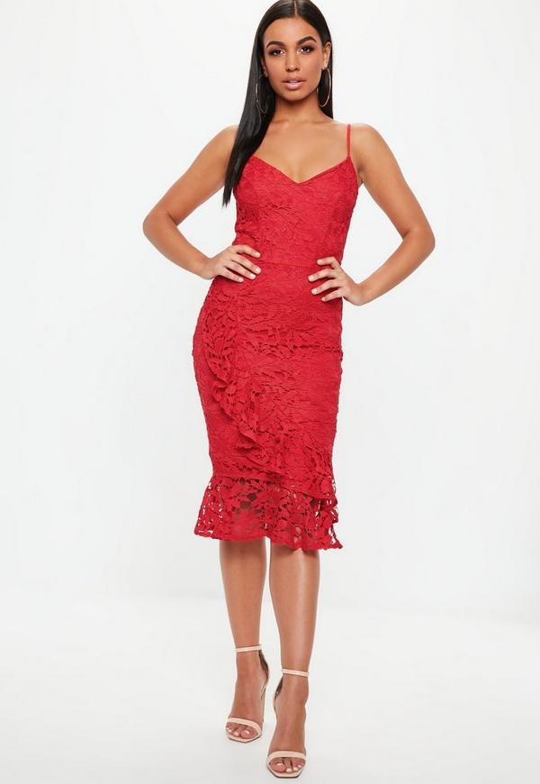 1ef28e63ec6 Red Lace Frill Wrap Detail Midi Dress. Previous Next. 1234. Your browser  does not support the video element.