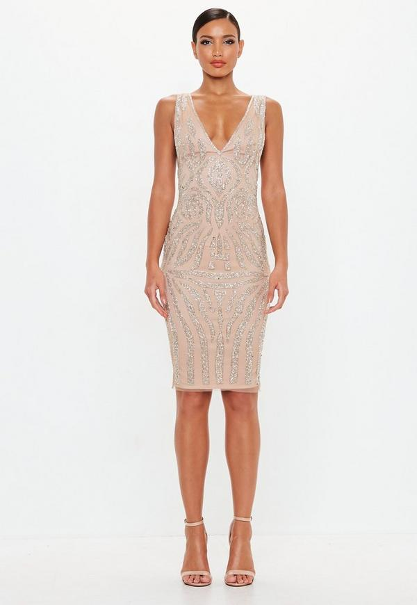 2651fe8365 ... Peace + Love Nude Embellished Plunge Midi Dress. Previous Next