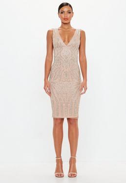 Peace Love Embellished Plunge Midi Dress
