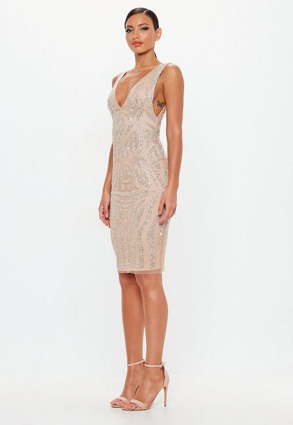 12533949d58 ... Peace + Love Nude Embellished Plunge Midi Dress. Previous Next