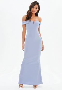 Grey Scuba Bardot V Plunge Maxi Dress