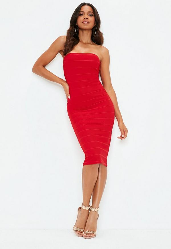4baafa528759 Red Bandeau Ribbed Bodycon Midi Dress