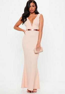 Pink V Plunge Maxi Dress