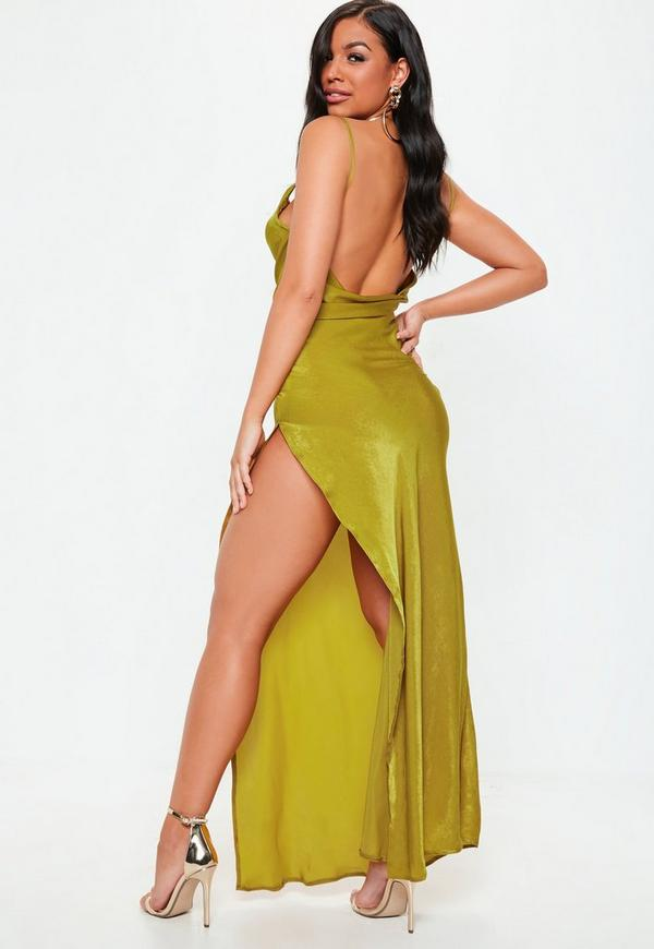 Khaki Satin Cowl Maxi Dress by Missguided