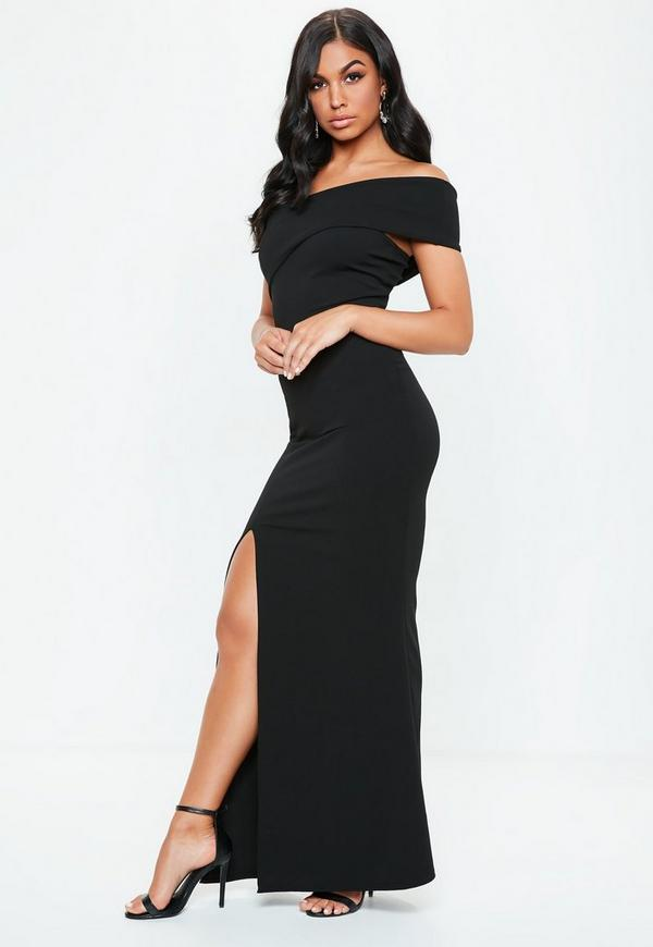 Black One Shoulder Maxi Dress Missguided Ireland