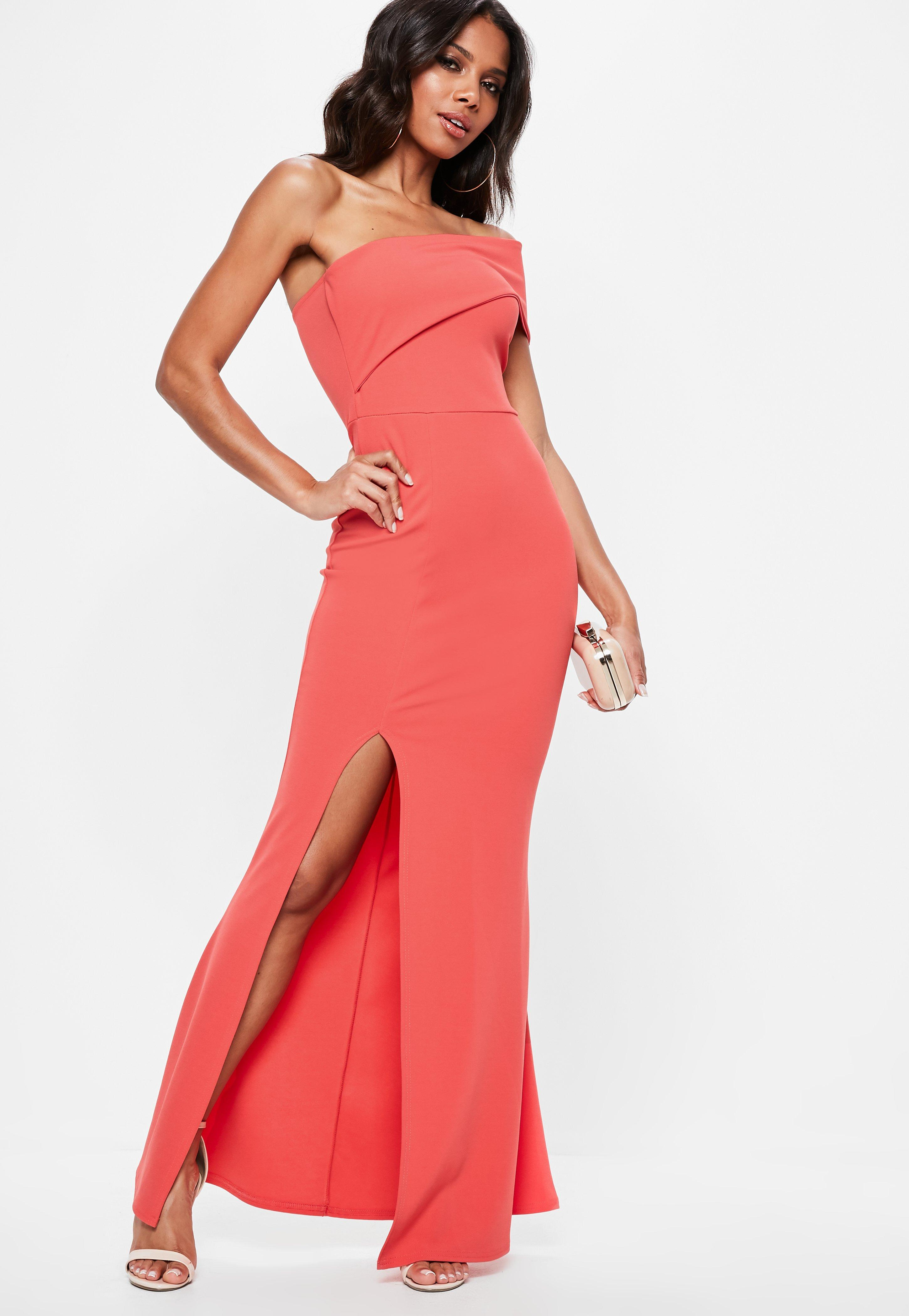 Coral One Shoulder Maxi Dress Missguided
