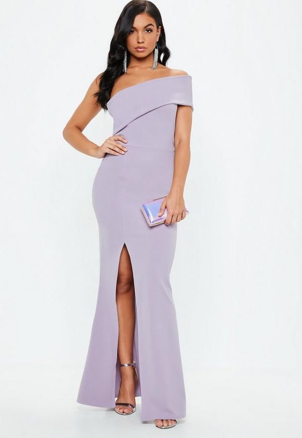 Lilac One Shoulder Maxi Dress Missguided
