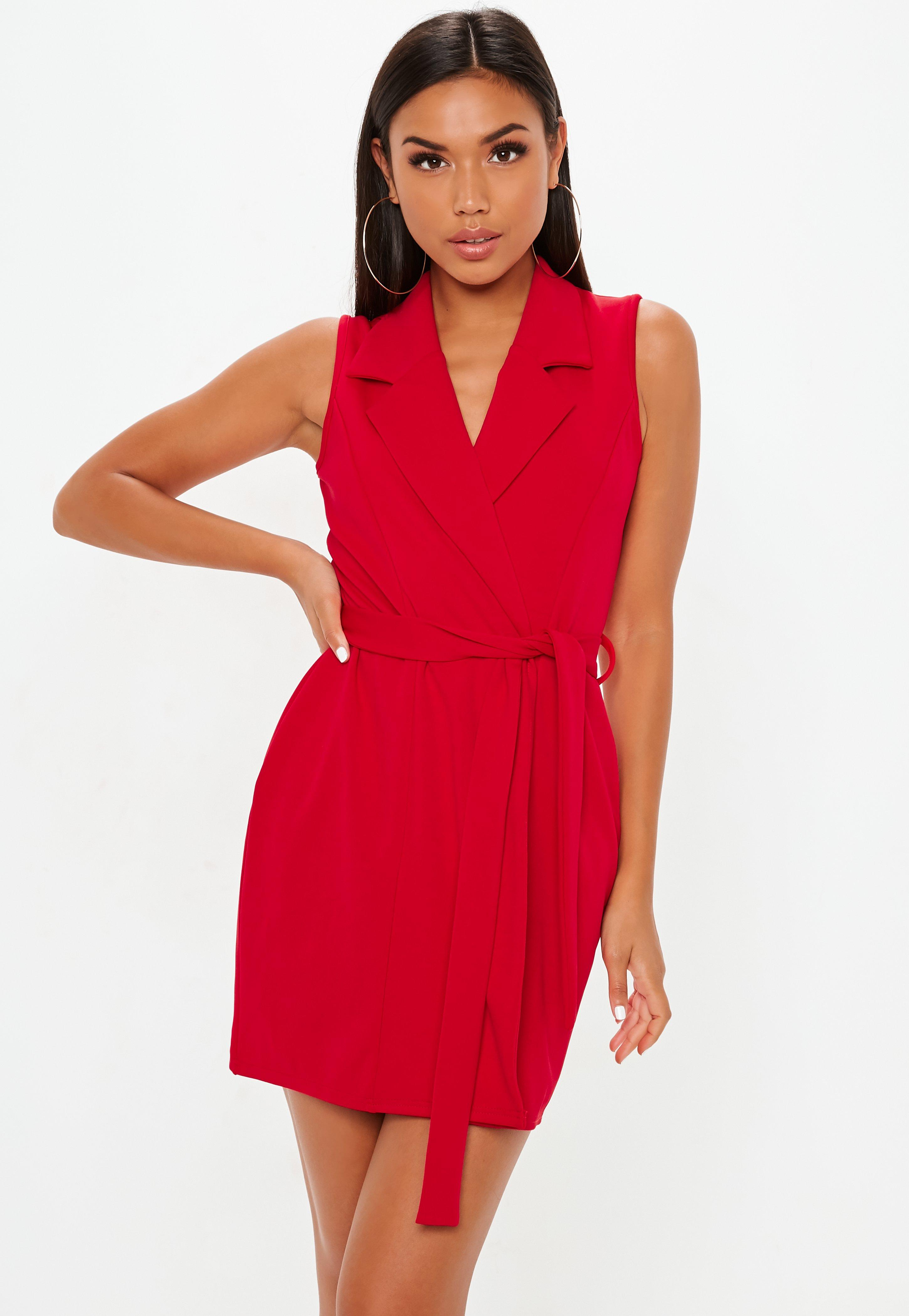dae6706ecb3 Red Sleeveless Stretch Crepe Blazer Dress