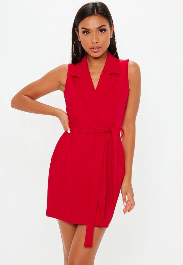 bd854af3e7250 Red Sleeveless Stretch Crepe Blazer Dress