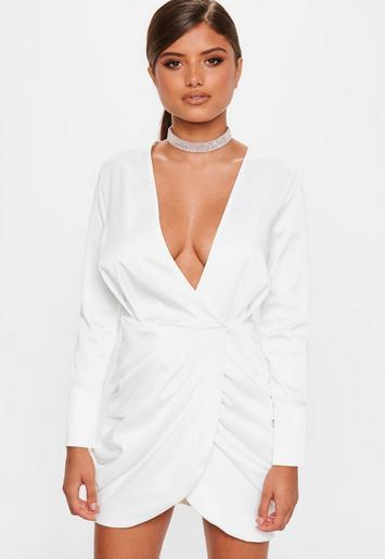 White Premium Plunge Wrap Detail Dress